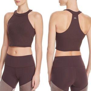 ALO Yoga Unite Rib-Knit Sports Bra burgundy Size L